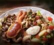 Food-Fotografie Lebensmittelfotografie: Stillifeaufnahme Meeresfrüchteteller mit Fisch, Krabben, Schnecken und Gambas