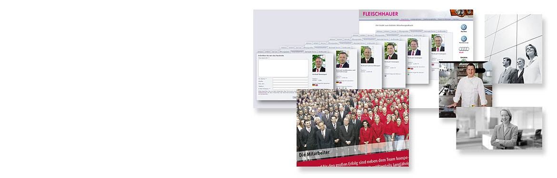 Slidermotiv Mitarbeiterportrait und Gruppenaufnahme - verschieden Aufnahmen von Mitarbeitern angefangen von eine Großgruppe (mehr als 50 Mitarbeitern) bis zum Einzelportrait am Arbeitsplatz