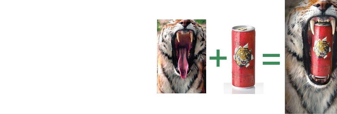 Slidermotiv eines Energydrink Werbecomposings aus der Aufnahme eines gähnenden Tigers und der Still Life Aufnahme einer eisgekühlten Energydrinkdose, zusammengefügt zu einem Werbemotiv eines brüllenden Tigers mit Energydrinkdose im Maul