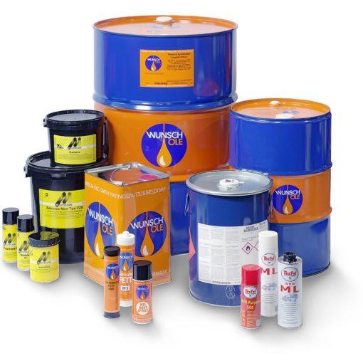 Endfassung nach Bildretusche und Freistellung: Mineralölprodukte von Wunsch Öle in verschiedenen Gebinden und Einheiten als Produktgruppe freigestellt