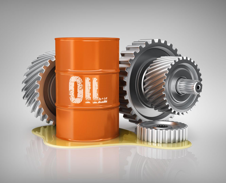 Ausgangsbild für die Bildbearbeitung: Stockfoto mit Ölfass mit Ölpfütze und Zahnrädern